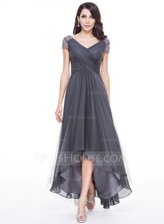 A-Line/Princess V-neck Asymmetrical Tulle Evening Dress With Ruffle Beading Sequins (017056519) Mother of the Bride