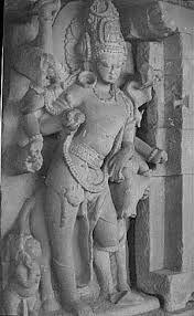 Shiva with his bull Nandi, at Durga temple, Aihole