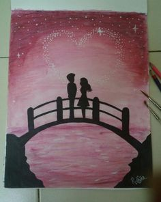 VR ONE and will always meet on the bridge across foReVer! Simple Canvas Paintings, Oil Pastel Paintings, Oil Pastel Art, Small Canvas Art, Mini Canvas Art, Oil Pastels, Oil Pastel Drawings Easy, Canvas Painting Tutorials, Art Drawings For Kids