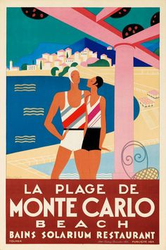 gorgeous 1929 vintage travel poster for Monte Carlo, design by Michel Bouchaud