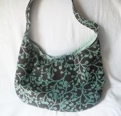 Hobo bag  small brown and green handbag  handmade by ACAmour, $36.00