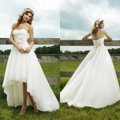 Amazing Country Western High Low Wedding Dresses Sweetheart Organza Front Short Long Back Bridal Gowns