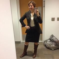 Another all #cabiclothing #ootd with vintage pieces. Ruffle silk blouse with ponte charcoal skirt and multi rising coat. Added #SilpadaStyle double wrap belt and my brown boots. #Jewelry was also Silpada and featured #pearl pieces! #whatiwore #fashion #fashionover40 #officechic #fallfashion #boots