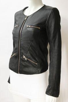 IRO Adria Black Leather Zipper Jacket