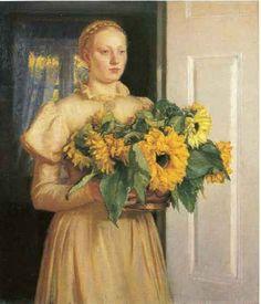 Michael Peter Ancher (1849-1927): Pigen med solsikkerne, 1893