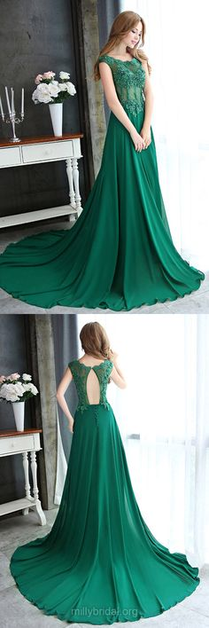 Green Prom Dresses Long, 2018 Prom Dresses A-line, Scoop Neck Formal Dresses Chiffon, Lace Party Gowns Open Back,Tulle Court Train Appliques Evening Dresses Classy