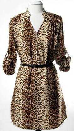 Animal Print Belted Shirt Dress