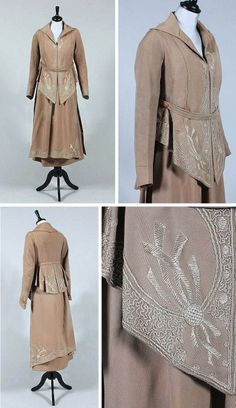 Walking suit, ca. 1915. Brown wool with silk-embroidered front and edging panels on jacket and hem of skirt, lined in blue satin. Kerry Taylor/Artfact