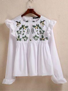 丸襟フラワー刺繍フリルシャツ