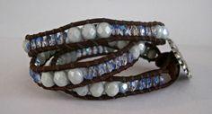 Beaded Leather Wrap Bracelet Light Blue by CristinaDavisJewelry, $37.50