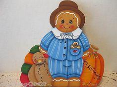 HP-Gingerbread-Thanks-giving-pilgrim-boy-SHELF-SITTER-hand-painted-USA