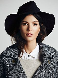 Clipperton Felt Hat | Floppy-brimmed wool fedora hat. The perfect fall accessory!  *By Free People