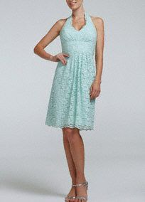 This feminine lacedress exudes timeless beauty andclassic charm!  Halter all over lace bodicehasa definedwaist that helps create a stunning silhouette.  Features scalloped lace hem which hits right above the knee.  Fully lined. Back zip. Imported polyester. Dry clean only.  To protect your dress, try our Non Woven Garment Bag.