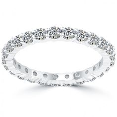 1.75 Carat E-VS1 Round Diamond Eternity Wedding Band Anniversary Ring 14k Gold - Eternity Bands - Wedding Bands