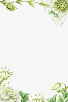 Green hand-painted flower borders, Hand-drawn Border, Flower Borders, Hand-painted Flowers PNG and PSD