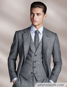 Mens Grey Tweed 3 Piece Suit Images