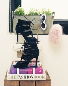 """""""My day-to-day style wear remains neutral. I love my leather jacket, worn jeans and soft t-shirts."""" But these shoes need to see the light more... http://www.thecoveteur.com/charlotte-simone-fur-designer/"""