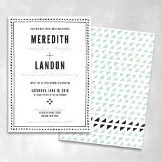 Modern blue and black wedding invitation
