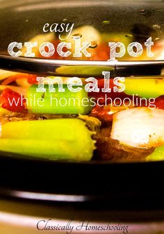 Balancing meals and homeschooling seems to be an impossible task. We're busy homeschooling all day. One simple solution is to use easy crock pot meals to feed your family. Crock Pot Slow Cooker, Slow Cooker Recipes, Crockpot Recipes, Snack Recipes, Breakfast Lunch Dinner, Breakfast Bake, Family Meal Planning, Family Meals, Learn To Cook