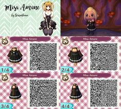Death note misa amane dress for animal crossing acnl  qr code girl black goth by sturmloewe