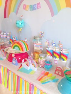 Rainbow birthday parties are trending and oh so fun! Check out how this mom put one together with ideas so affordable, we have to try it! Rainbow Parties, Rainbow Birthday Party, Unicorn Birthday Parties, First Birthday Parties, Birthday Party Themes, First Birthdays, Themed Parties, Birthday Kids, Birthday Photos