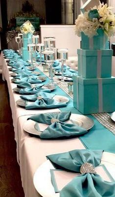 Breakfast At Tiffanys Party Ideas, Tiffany Blue Party, 50th Birthday Centerpieces, Best Party Appetizers, Ladies Luncheon, Banquet Tables, Party Table Decorations, Event Decor, Tablescapes