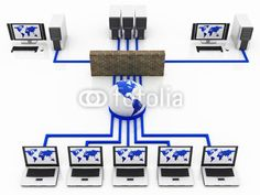 blue Computer Global network connecting the Internet