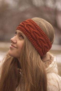 Knitted Headband, Ear Warmer, Cable headband, Fall Hair Band, Cozy Cable Knit This hand knitted chunky headband is a perfect accessory for cold