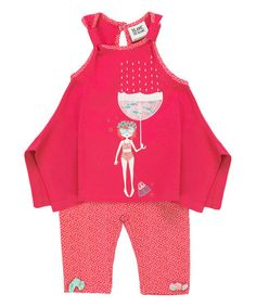 Another great find on #zulily! Fuchsia Rain Tunic & Polka Dot Leggings - Infant & Toddler #zulilyfinds