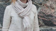 Natural Linen Scarf Flax Scarf warm grey linen by OldWallLinen