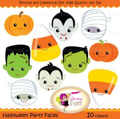 Halloween clipart Halloween Party Faces Digital images Dracula Vampire Pumpkin Candy Corn Frankenstein Frankie Mummy clip arts