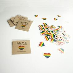 10 Rainbow Pride Hearts, Party Pack of Temporary Tattoos! Rainbow LBGT Hearts Party Favors, Love Wins!