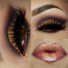 Wear this gold sparkly eye with a bronzed metallic lip and glam up any party. Click the pic to see the products she used. #beauty #makeup #bling #glitter