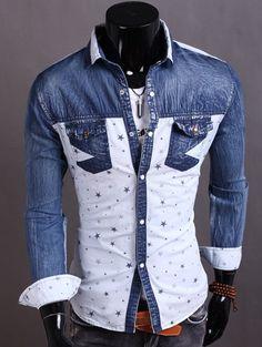 Turndown Collar Denim Spliced Stars Print Shirt - White M Mobile Cool Shirts For Men, Cheap Shirts, Terno Casual, Denim Shirt, Sweater Shirt, Dress Shirt, Stylish Mens Outfits, Collar Shirts, Printed Shirts