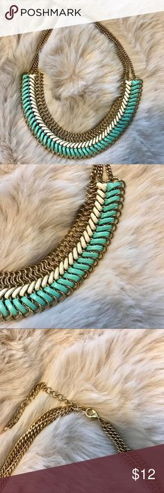Turquoise and white leather necklace Super cute! Jewelry Necklaces