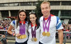 Sir Chris Hoy with Sarah Storey, far left and Victoria Pendleton at the victory parade for Team GB in Picture: Getty Images Sir Chris Hoy, Victoria Pendleton, Victory Parade, Scottish Independence, Team Gb, London Street, Rugby, Athlete, Fitness