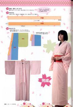 Tercera página de patrones para kimono femenino.