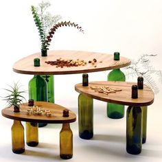 Recycling is vital for the future of our world and our generation. So, what can you do to contribute to it? Here are some furniture made from recycling materials. Use Of Bottle, Beer Bottle, Wine Bottle Display, Wine Bottle Art, Furniture Making, Diy Furniture, Furniture Design, Plywood Furniture, Painted Furniture