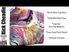 Multi Mini Flip Cups on Easy Flow Paint Pouring Panel  Liquitex Pouring Medium GOLDEN High Flow Pain - YouTube