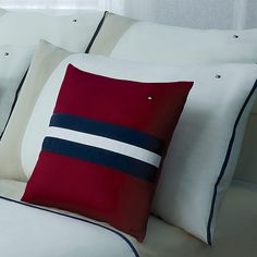 Everything in a bedroom should contribute to an atmosphere of peace. Red Blue Tommy Hilfiger Pillow.