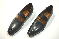 SUTOR MANTELLASSI Leather loafers in blue and brown
