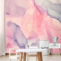 Wallpaper Girls Room Abstract Pink Purple Gold Watercolor Art Peel and Stick Large Wall Mural Accent