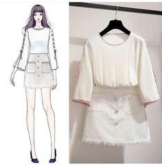 Want these korean fashion style Asian Fashion, Look Fashion, Girl Fashion, Fashion Design Drawings, Fashion Sketches, Fashion Drawing Dresses, Fashion Dresses, Trendy Outfits, Korean Outfits