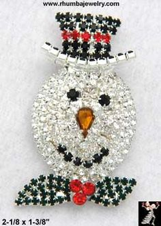 Snowman Pin: All Rhinestone Christmas Snowman Pin Brooch - Antique & Collectible Exchange