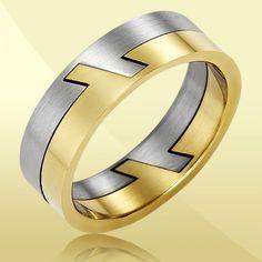 Men's Gold & Silver Coloured Titanium Razor Ring