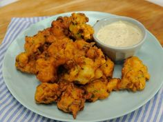 Shrimp Fritters with Cornichon Dressing
