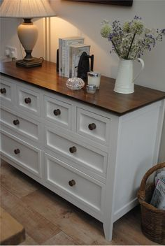 Or this - with different knobs and a white or grey or black painted top. Farrow & Ball Inspiration
