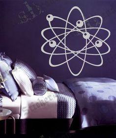 Vinyl Wall Decal Sticker Science Physics Atom item 389A