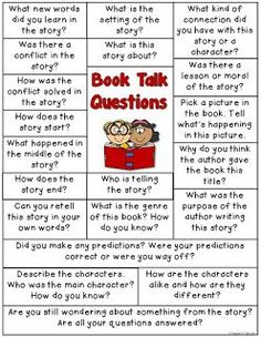 Let's start talking about books. Here are some great questions to start the conversation about books. Library Lessons, Reading Lessons, Reading Strategies, Reading Comprehension, Reading Club, Guided Reading Questions, Comprehension Strategies, Reading Books, Guided Reading Groups
