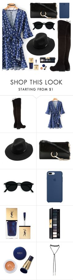 """Bule & Black"" by dora04 ❤ liked on Polyvore featuring Stuart Weitzman, WithChic, Chloé, Apple, Christian Dior, Yves Saint Laurent and vintage"